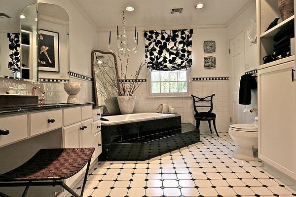 In questa soluzione è la vasca il punto focale del bagno