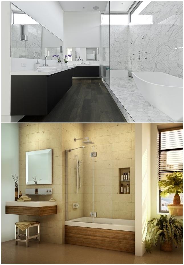 Legno o pietra che sia, questi due bagni hanno una cosa in comune: eleganza allo stato puro