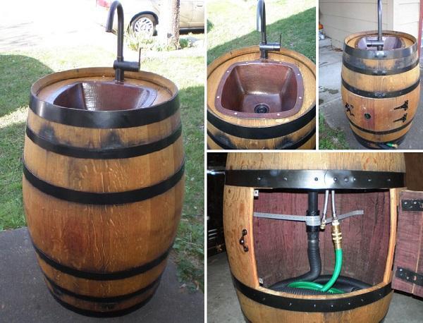 Come trasformare una botte di vino, in un lavandino da giardino