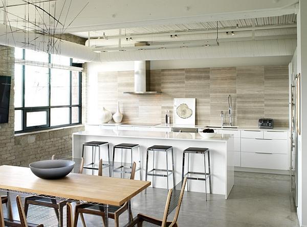 Cucina dal design innovativo che riunisce gli stili industriali e scandinavi