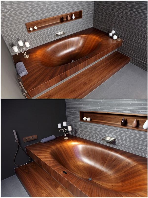 Una elegante vasca da bagno in legno