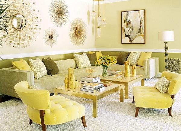 Altre sfumature di giallo per questo salotto anni 70