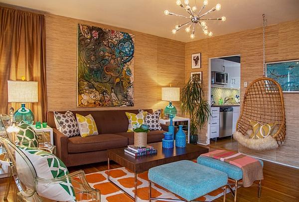 La combinazione perfetta tra diversi elementi di arredo retrò in un soggiorno moderno