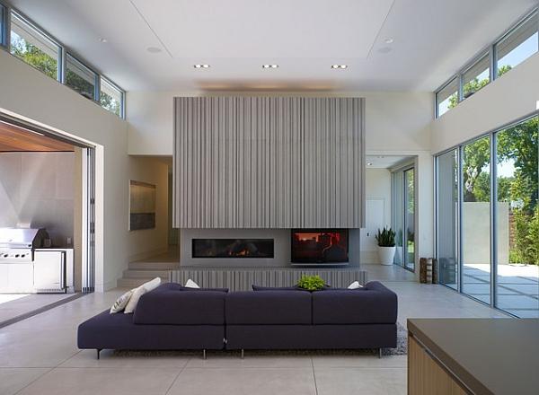 Il grigio aggiunge quel tocco di raffinatezza a questo soggiorno