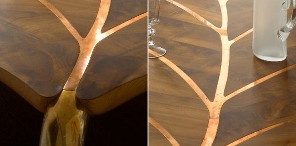 Un tavolo a forma di foglia