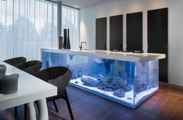 La cucina con acquario incorporato
