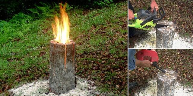 Creare la torcia svedese, il fornello naturale