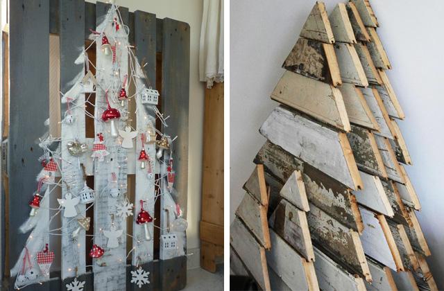 Un albero di natale originale con le pedane in legno for Alberi di natale fai da te in legno