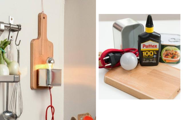 come realizzare una lampada con un tagliere da cucina