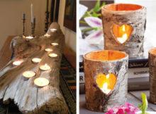 portacandele in legno per la tavola