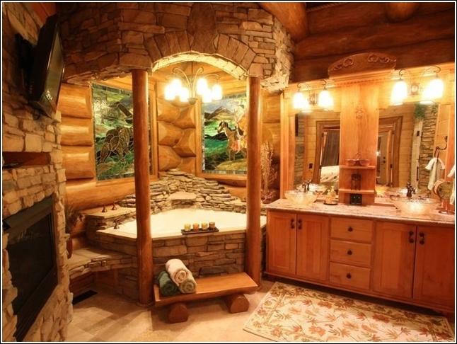 Un favoloso bagno incastonato nelle pietre