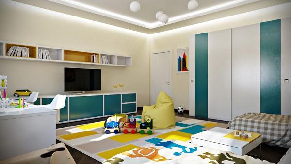 Anche il tappeto richiama colori e divertimento