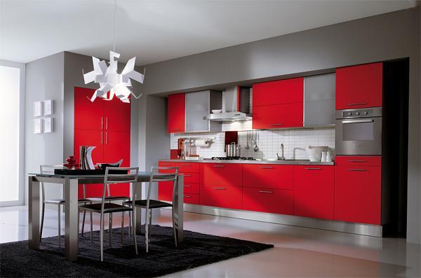 Cucina rossa laccata lucido. Per chi non ha paura di osare