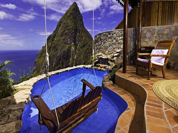 Vista mozzafiato dal Ladera Resort, St. Lucia
