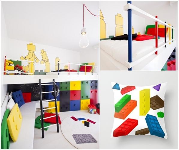 Tutto in questa stanza, a partire dai cuscini, richiama i mattoncini colorati