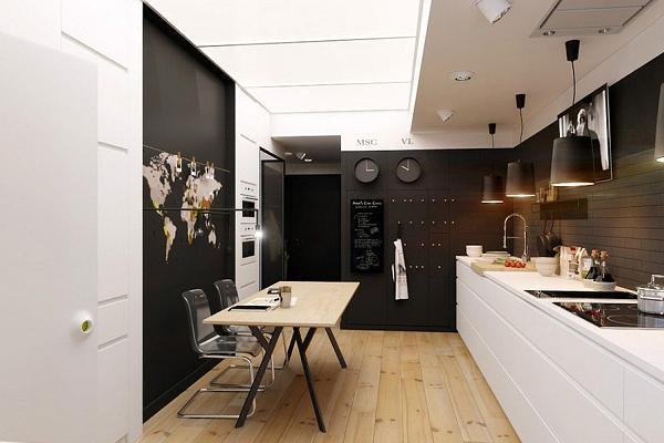 Piccolo appartamento a due colori all insegna del salva-spazio