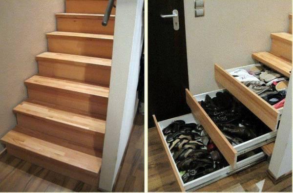 Le scale possono essere utilizzate per stipare le scarpe