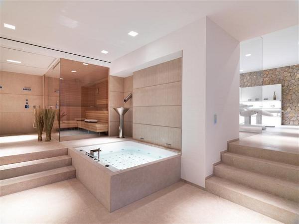 Questo non è un bagno, ma una SPA: sauna, vasca idromessaggio e area massaggi