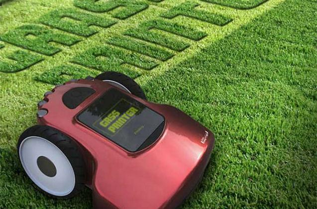 Tagliare l'erba, scrivendo un messaggio