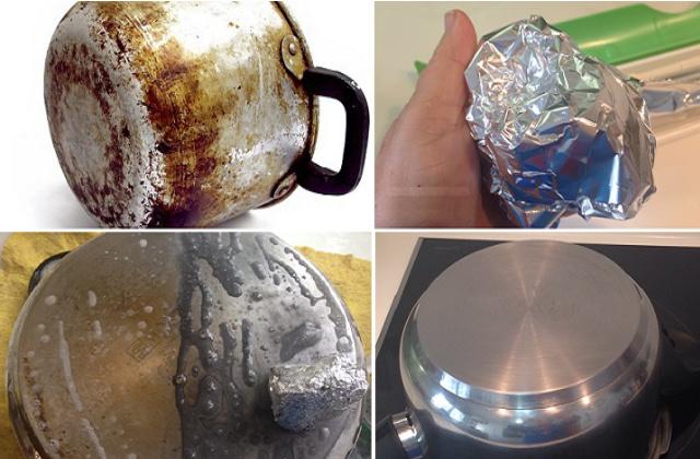 pulire con alluminio le pentole incrostate