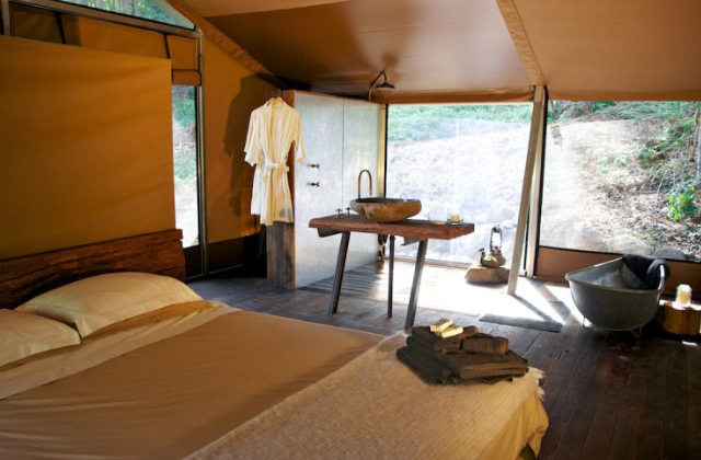 interno di una tenda di lusso